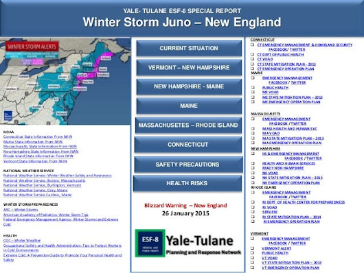 Yale-Tulane Special Report: Winter Storm Juno - 26 Jan 2015