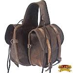 Hilason Soft Leather Horn Horse Saddle Bag Dark Brown