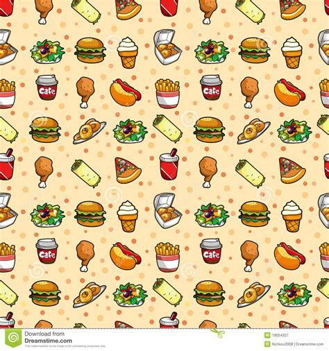 Seamless fast food pattern stock vector. Illustration of