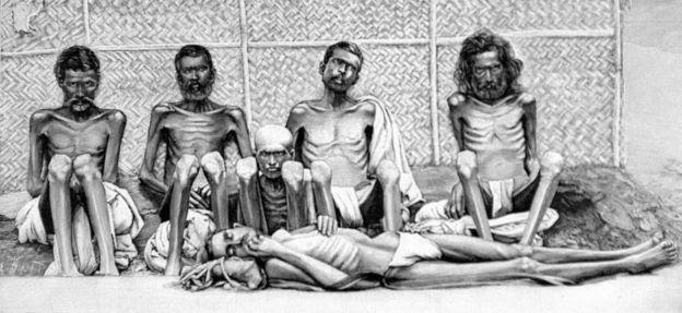Fotografía de la hambruna en India de 1900
