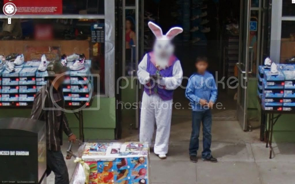 Person in a full-body bunny suit