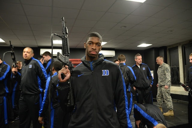What Is This Photo Of The Duke Basketball Team Handling Assault Rifles?