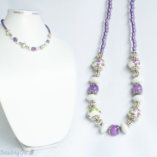 Purple White Necklace Purple Porcelain Floral Necklace