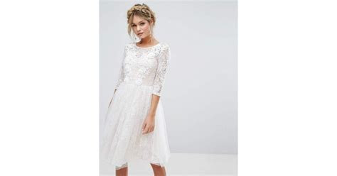 Chi Chi London Bridal Lace Midi Dress With 3D Applique
