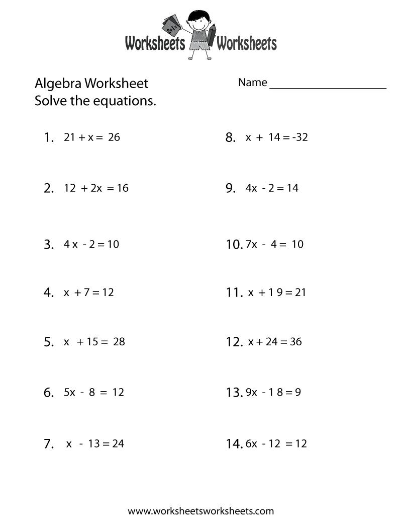 Simple Algebra Worksheet - Free Printable Educational ...
