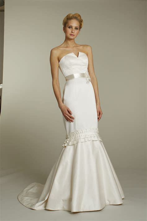Ivory silk strapless mermaid wedding dress with notched