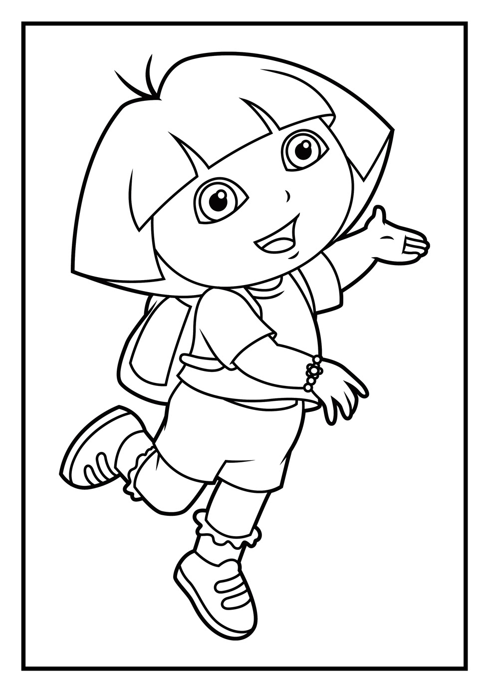 Dora The Explorer Coloring Pages For Kids Drawing With Crayons