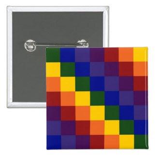 Checkered Rainbow 2 Inch Square Button