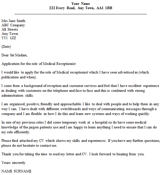 Office Receptionist Cover Letter Example Icover Org Uk