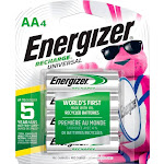 Energizer - Recharge Universal Rechargeable AA Batteries (4-Pack)