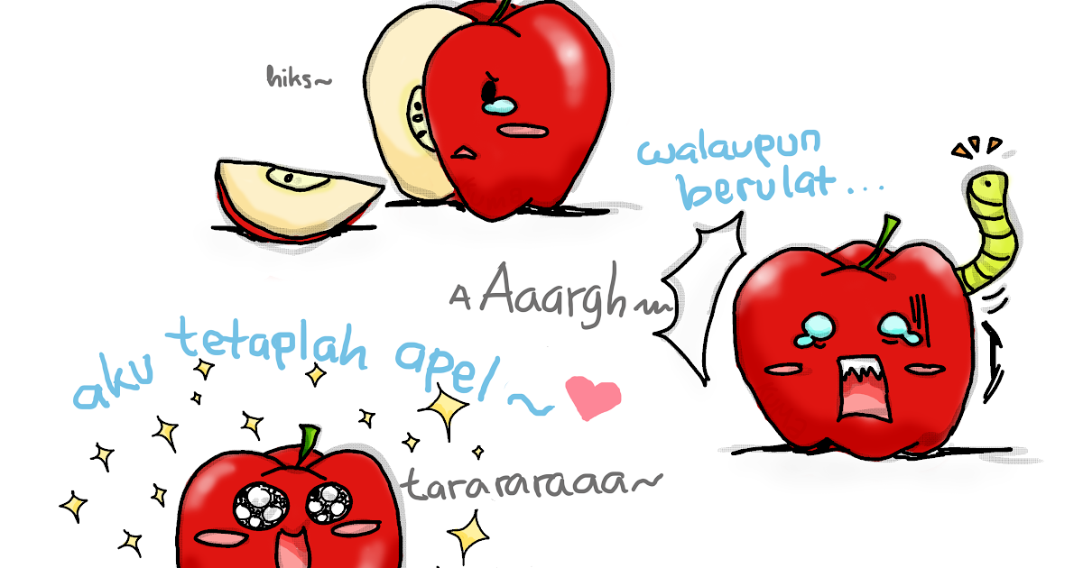 sketsa gambar apel dimakan ulat lubang cacing stok