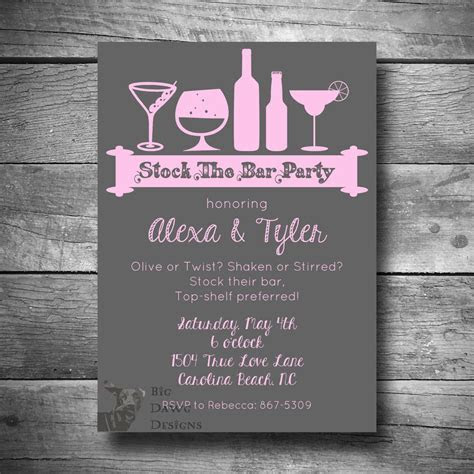 Stock the Bar Party Invitation in Gray and Pink by