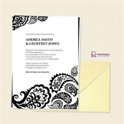 FREE PDF Download   Paisley Border Wedding Invitation