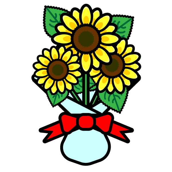 かわいいひまわりの花束の無料イラスト商用フリー オイデ43