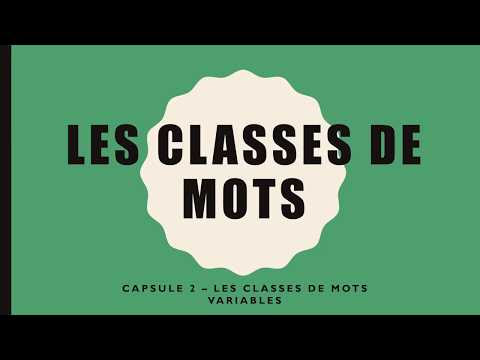 CLASSES DE MOTS