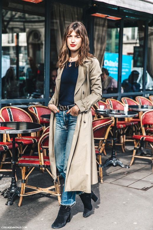 Le Fashion Blog Parisian Street Style Jeanne Damas Khaki Trench Coat Ribbed Sweater Raw Hem Jeans Black Suede Ankle Boots Via Collage Vintage