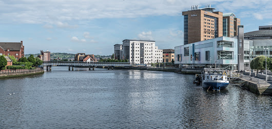 LAGAN RAILWAY PLUS PEDESTRIAN BRIDGE IN BELFAST [TWO FOR THE PRICE OF ONE]