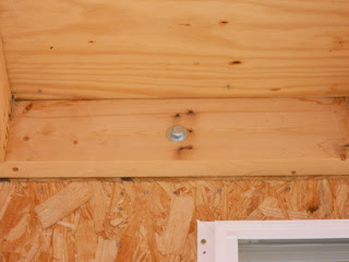 Porch Roof Header Board Bolted to Wall Studs