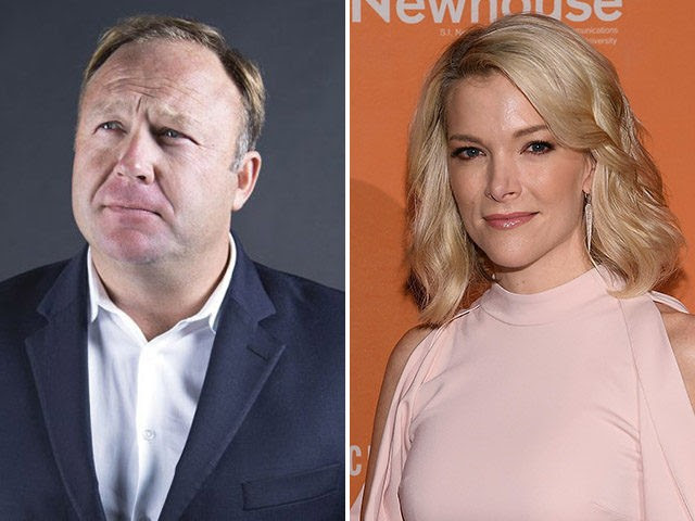 InfoWars host Alex Jones and NBC News host Megyn Kelly. (InfoWars.com, Dimitrios Kambouris/Getty Images)