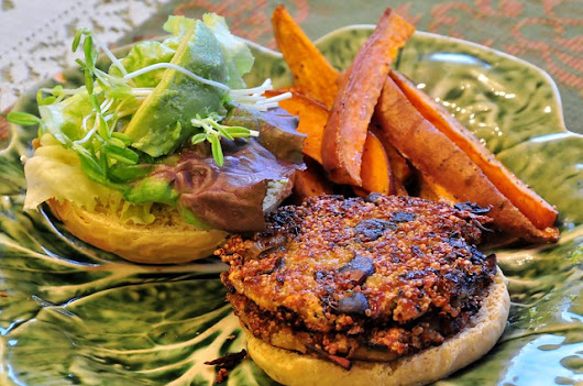 what the hell _does_ a vegan eat anyway?: Hickory-Smoked Mushroom and Quinoa Burgers,Sweet Potato Fries