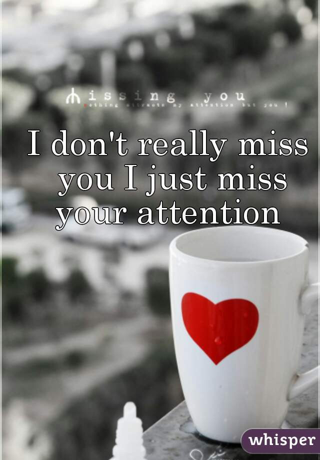 I Dont Really Miss You I Just Miss Your Attention