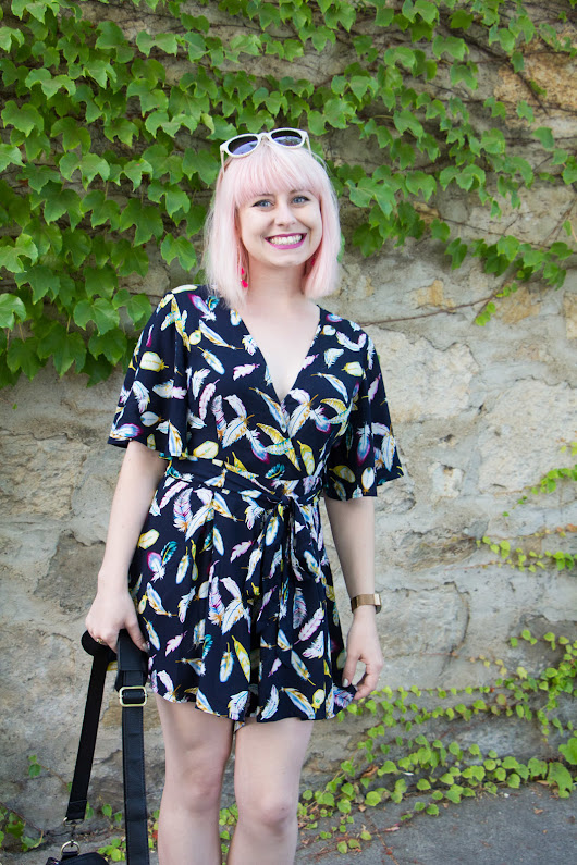 Outfit: Feather Print Navy Blue Romper in Napa