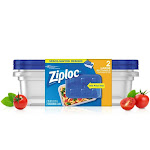 Ziploc 70941 Large Rectangle Containers and Lids W/one Press Seal, 9-cup, 2-ct