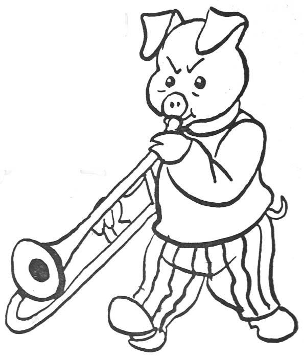 Coloriage Cochon Musicien