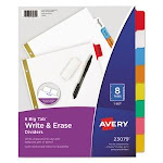 Avery Tab Write-On Dividers w/Erasable Laminated Tabs, Set of 8 (AVE23079)