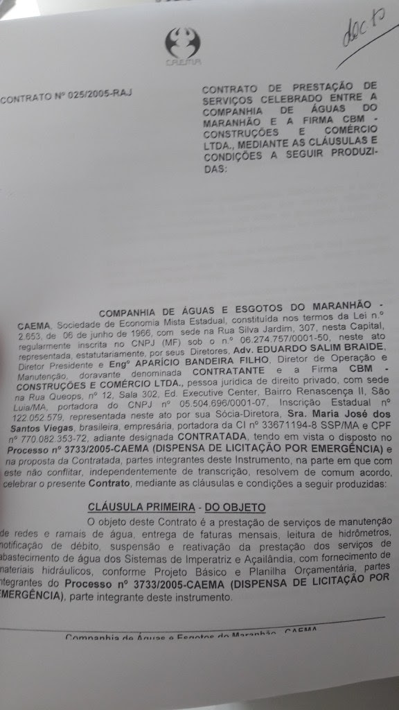 Contrato celebrado entre a Caema e a CBM