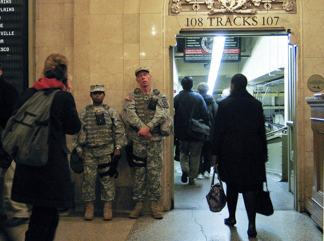 Standing guard, below Grand Central