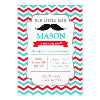 Mustache Little Man Birthday Party Invitations