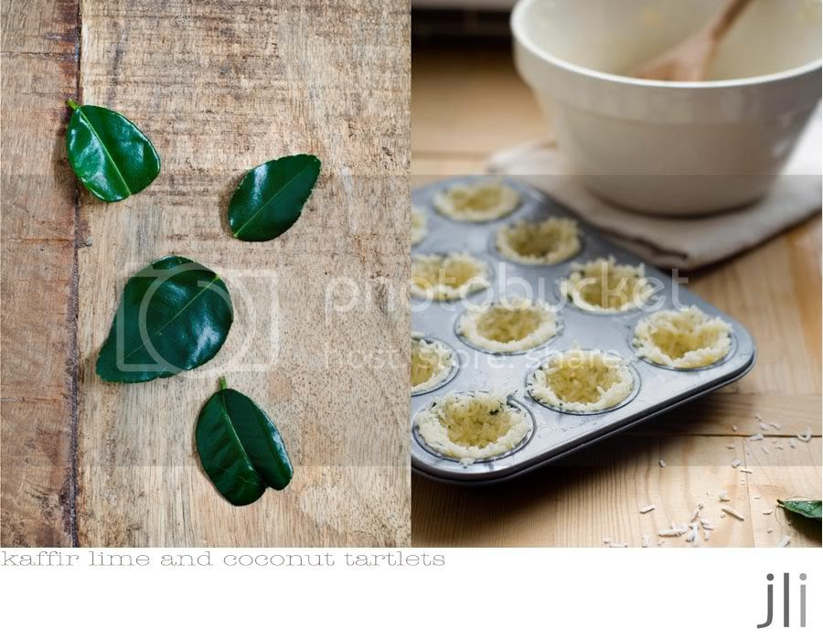 kaffir lime and coconut tartlets