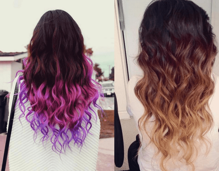 Dip Dye Black Hair With Coloured Ends - hair coloring