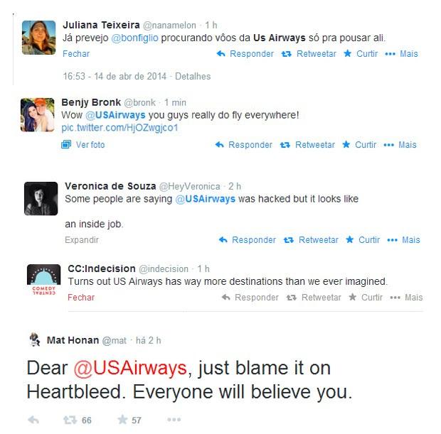 Reações de usuários do Twitter à foto postada pela US Air Ways (Foto: Reprodução )