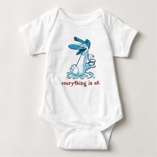 everything is ok funny duck cartoon baby bodysuit