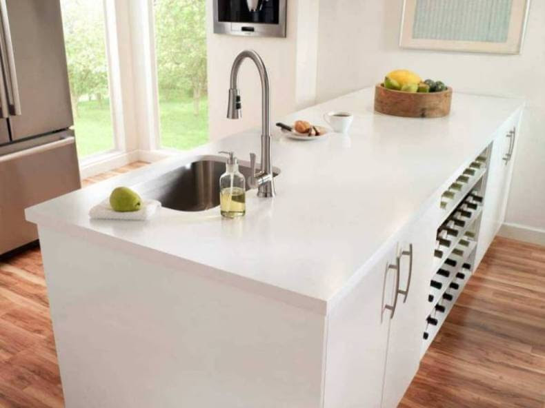Acrylic White Solid Surface Kitchen Countertops