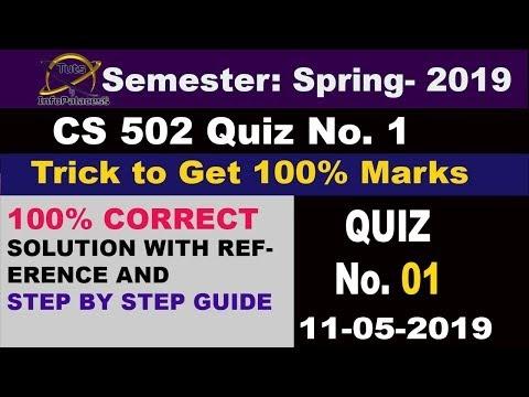 Trick: Get 100% Marks: CS502 Quiz 1 Spring 2019 Solution