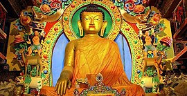 A Statue of the Buddha in Tawang Gompa, India
