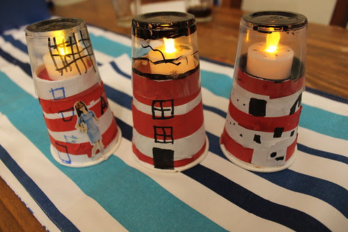 Paper cup lighthouses