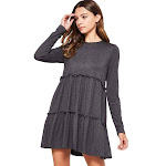 Bellamie Women's Tiered Solid Dress Charcoal (Medium)