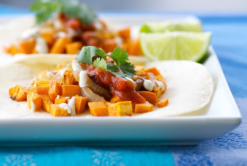 roasted yam and caramelized onion tacos