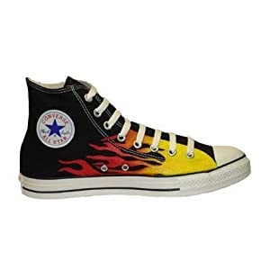 c9a1c6ee7972 Converse Chuck Taylor All Star Hi Top Custom Flames Hand Painted ~ Shoes