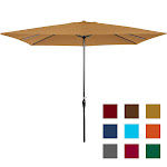 Best Choice Products Rectangular Patio Umbrella with Crank, Tan