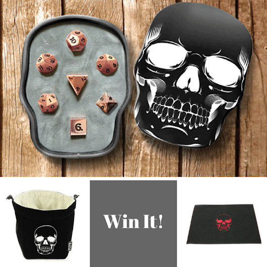 Win This Rose Gold Dice Set, Skull Dice Bag & Dice Rolling Mat