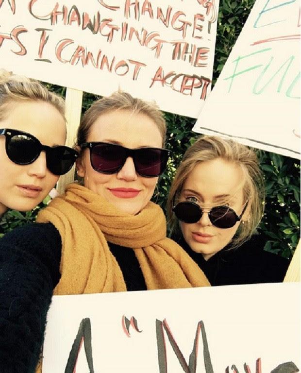 Jennifer Lawrence, Cameron Diaz e Adele (Foto: Reprodução/Instagram)
