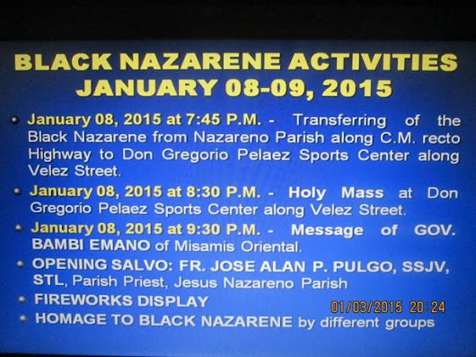 Route of the Procession of Black Nazarene In CDO