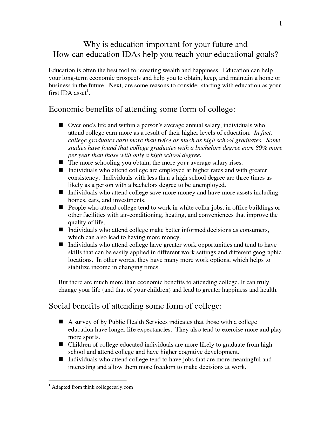 what to write for college essay in education
