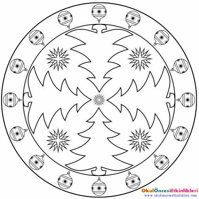 Mandala Boyama Okul Oncesi Basit Boyama Sayfasi