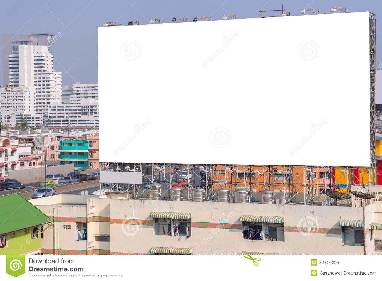 Large Blank Billboard With City View Background. Stock Photo ...